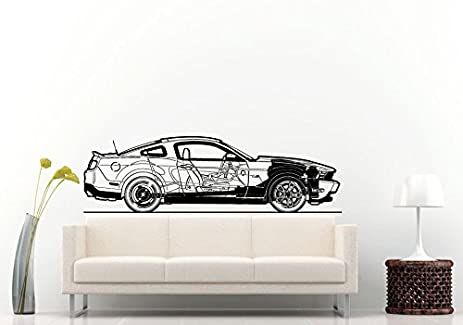 Amazon.com: Sport Racing American Muscle Car Blueprint Wall Decal ...
