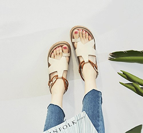 Color Summer Comfortable Flat Roman Size Lace Retro Brown Toe Shoes Sandals Shoes 39 Female Student Shoes Exposed EqtPHdwOOx