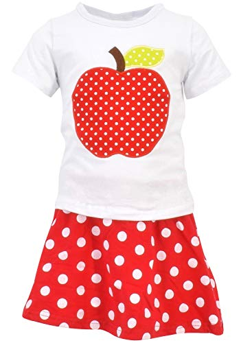 - Unique Baby Girls Back to School Apple Skirt Boutique Outfit (4T/M, Red)