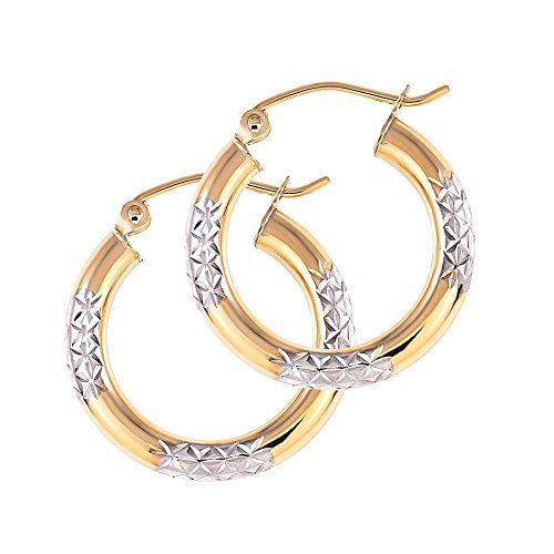 Balluccitoosi Two Tone Earrings - 14k Gold Hoop Earring for Women and Girls - Unique Jewelry for Everyday by Ballucci&Toosi Goldsmith