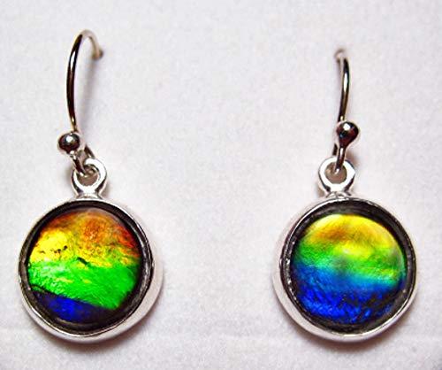 Ammolite 925 Sterling Silver 9mm Oval Earrings #4 SLE