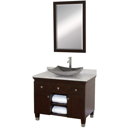 Wyndham Collection Premiere 36 inch Single Bathroom Vanity in Espresso with White Carrera Marble Top with Black Granite Sink chic