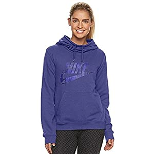 Nike Women's Sportswear Funnel Neck Hoodie, Dark Purple Dust (Large)