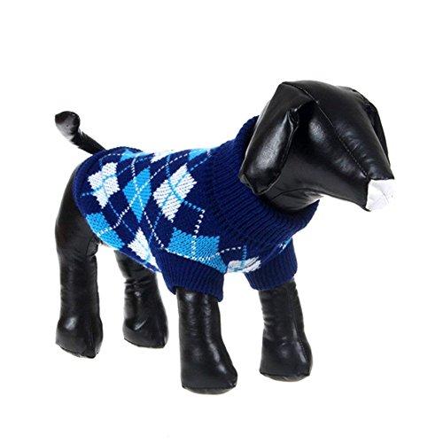 Image of PanDaDa Small Pet Dog Plaid Style Sweater Knitwear Coat Apparel Dark Blue XXS