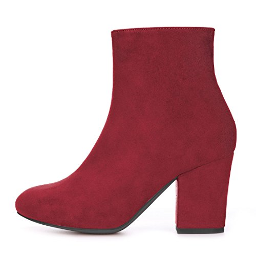 Red Boots Toe Round Women's Allegra Ankle Heel Chunky K vA4wq8