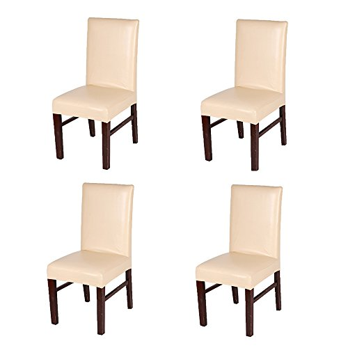 FLYPARTY Stretch Solid Pu Leather Waterproof Dining Chair Cover Slipcover Removable Washable Short Dining Chair Cover Protector Seat Solid Slipcovers for Hotel,Dining Room,Wedding (Champagne, 4)
