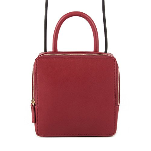 Korea Bag Bag Square And Leather Shoulder Bag Pu Leather Women Casual South Fashion Japan Simple Bag Woman Burgundy Handbag Retro Bag pPxd5qgSPw