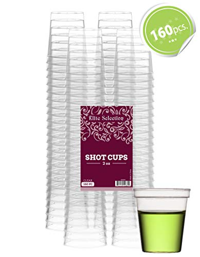 Elite Selection Shot Glasses | 2 Oz. Clear Plastic Disposable Cups | Perfect Party Shot Cups for Shots, Tasting, Sauce, Dips | Pack of 160 -