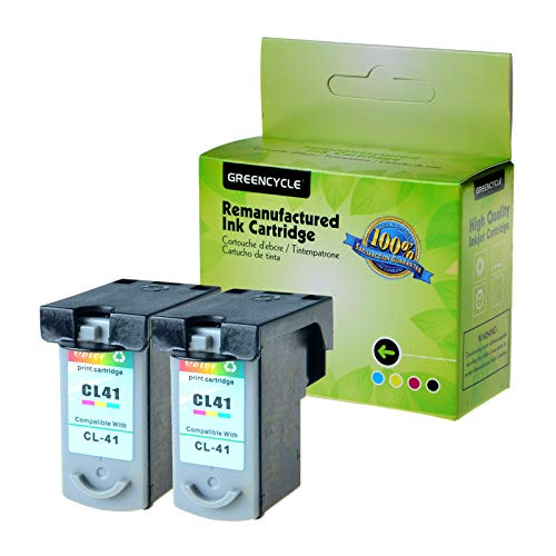 GREENCYCLE 2 Pack Remanufactured CL41 CL-41 Tri-Color Ink Cartridge Compatible with Canon FAX JX200 PIXMA iP1600 iP1800 MP180 MP450 MX310 Printer