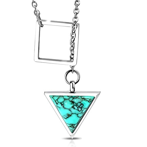 Comfort Zone Studios Stainless Steel Interlocking Square Triangle Turquoise Stone Charm Link Chain Necklace