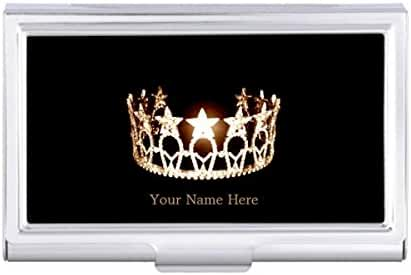 Miss USA style Crown Business Card Holder Case
