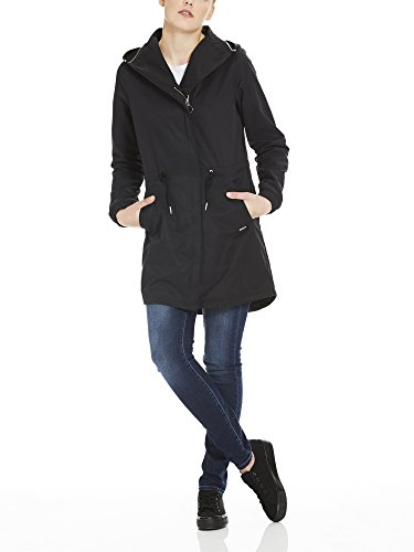Feminine Bk11179 Detachable Beauty With Manteau Coat black Femme Noir Hood Bench ZdvqZ