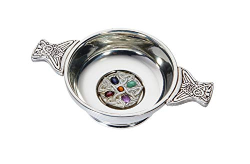 Wentworth Pewter Celtic Cross Gemstone Toasting Celebration Quaich