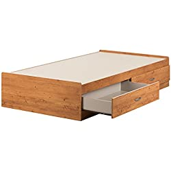 South Shore 11676 Logik Mates Bed with 2 Drawers, Twin, Country Pine