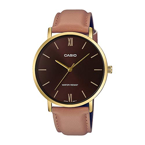 Casio Brown Leather Men Watch MTP-VT01GL-5BUDF