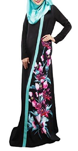Abetteric Womens Vintage Printed Long-Sleeve Muslim Wedding Long Dresses Black L
