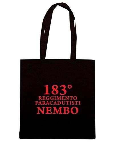 T-Shirtshock - Bolsa para la compra T0777B 183 reggimento paracadutisti Nembo Folgore militari Negro