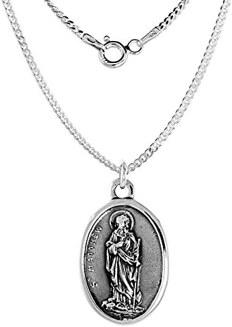 Sterling Silver St Dismas Medal the Good Thief with Sacred Heart Necklace Oval 1.8mm Chain