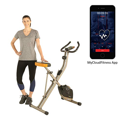 Exerpeutic Folding Bluetooth Smart Cloud Fitness Magnetic Upright Exercise Bike with Goal Setting and Free APP by Exerpeutic