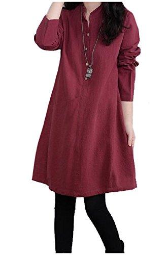 Donne Vestito Collare Colore Dell'imbracatura Del Lunga Rosso Puro Tasca Comodi Fasciato Vino Manica SRqnwSPr