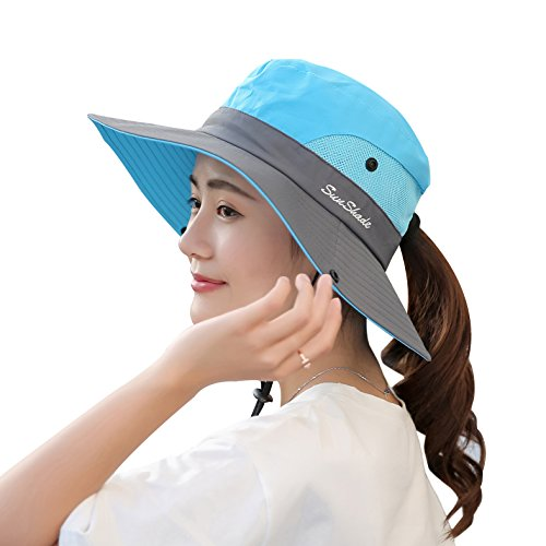 (Muryobao Women's Summer Sun Hat Outdoor UV Protection Foldable Wide Brim Bucket Boonie Hats Beach Safari Fishing Cap Sky Blue)