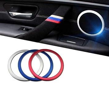 iJDMTOY (4) Aluminum Speaker Ring Cover Trims For 2012-up BMW F30 F31 3 Series 320i 328i 335i M3 4 Series 428i 435i, Red iJDMTOY Auto Accessories Fit 2012 2013 2014 2015 2016 2017