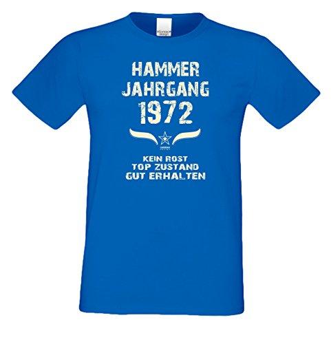 Geburtstagsshirt Mode Herren Geburtsjahr Hammer Jahrgang 1972 Geschenk zum 45. Geburtstag Freizeitlook Geschenkartikel Farbe: royal-blau Gr: 4XL