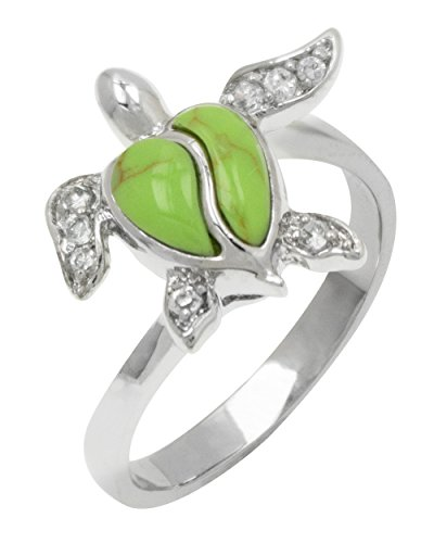 Sterling Silver Turtle Jewelry Ring with Simulated Green Turquoise Shell and CZs