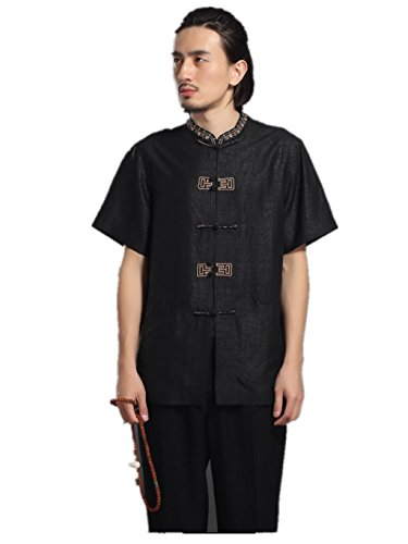 High-end Business Shirts Men's shirt Tang Costume Tang Suit Retra Shirt Chinese National Style Mulberry Silk by LUOLAN-Tang Sui (Image #9)