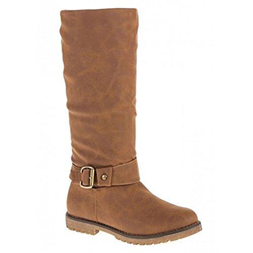 Schuhzoo - Damenstiefel Stiefel Schuhe Warm gefüttert Reißverschluss Camel