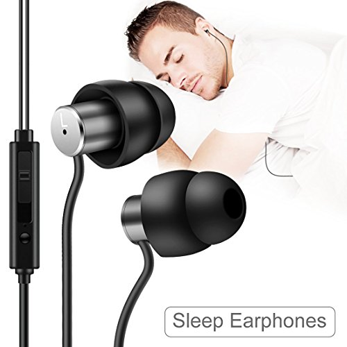 AGPTEK Sleep in-Ear Earphone Earbud, Ultra-Soft Silicone Noise Isolating Earplugs with Mic and Volume Control for Sleeping, Insomnia, Side Sleeper, Snoring, Air Travel, Meditation, Relation