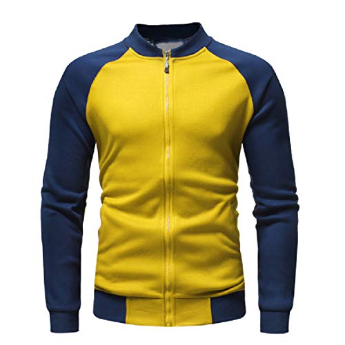 Coats Howme Loose Raglan Jacket Sweatshirt Men Fleece Casual Contrast Yellow qrqwa8Z