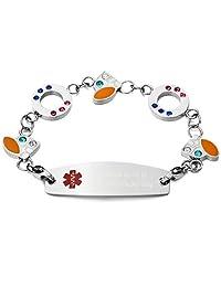 MeMeDIY Silver Tone Stainless Steel Glass Bracelet Link Medical Alert ID - Customized Engraving
