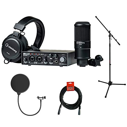 Steinberg UR22C Recording Pack with Tripod Mic Stand, Kellopy Pop Filter & XLR Cable Bundle