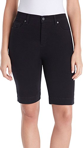 Embroidered Stretch Shorts (Gloria Vanderbilt Amanda Embroidered Bermuda Shorts Black 8)