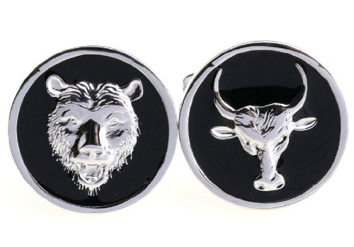 MRCUFF Bear and Bull Wall Street Pair Cufflinks in a Presentation Gift Box & Polishing Cloth (Bull Bear Cufflinks)