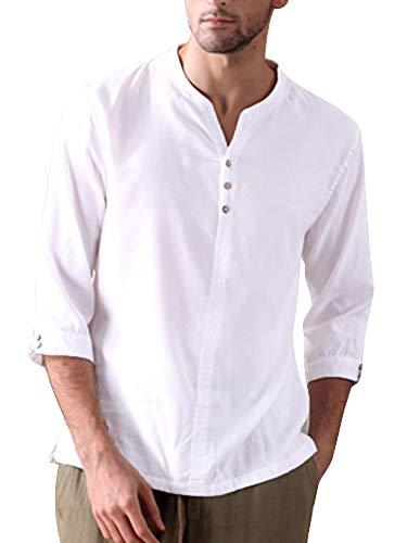 (Taoliyuan Mens Linen Henley Shirt 3/4 Sleeve Summer Beach Slim Fit Roll-up Lightweight Shirts (Medium, E-White) )