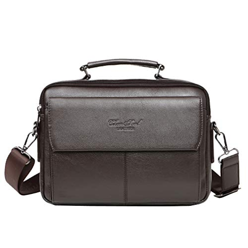 Leather Briefcase Messenger Handbag for Men Business Travel Outdoor CrossBody Shoulder Bag Handbags Satchel Pack for Ipad Air, Ipad