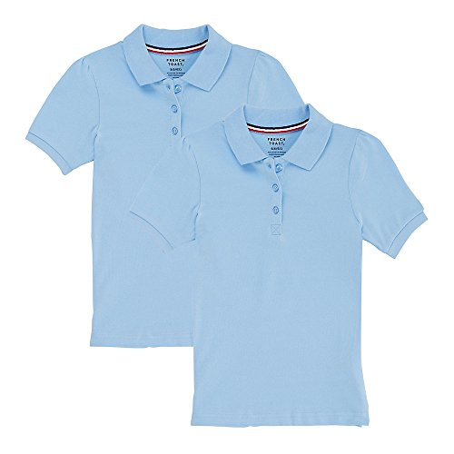 French Toast Girls' Big Short Sleeve Stretch Pique Polo-2 Pack, Light Blue, M (7/8)