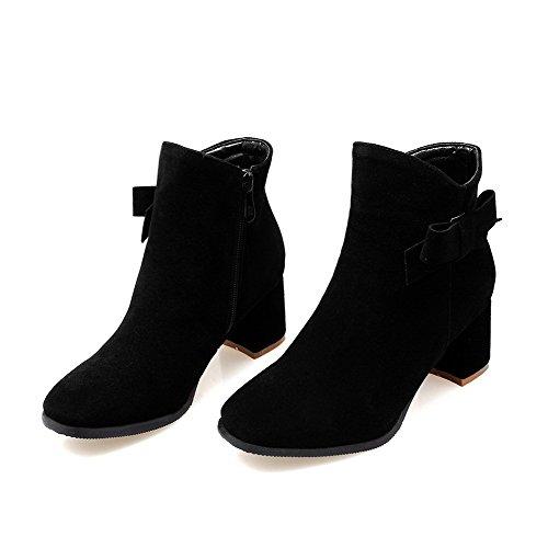 Allhqfashion Women's Imitated Suede Low-Top Solid Zipper Kitten-Heels Boots Black 3GHhk