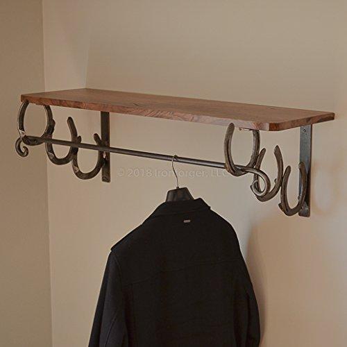 Coat Rack Shelf Black Walnut Horseshoe ()