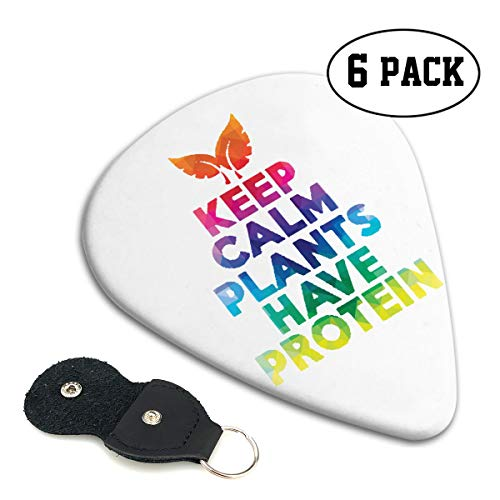Irene Merritt Guitar Picks- Keep Calm Plants Have Protein Guitar Picks With Leather Cases Bag £¨6 Pack£ (Best Anabolic Steroids For Beginners)