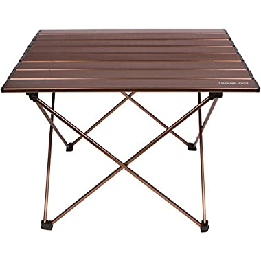 Trekology Camping / Beach Table with Aluminum Table Top – Portable Folding Table in a Bag for Beach, Picnic, Camp, Patio, Fishing, RV, Indoor, Brown Color