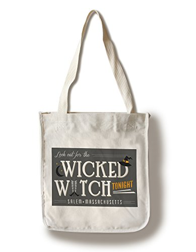 Salem, Massachusetts - Look Out For the Wicked Witch (100% Cotton Tote Bag - - Shopping Massachusetts Salem