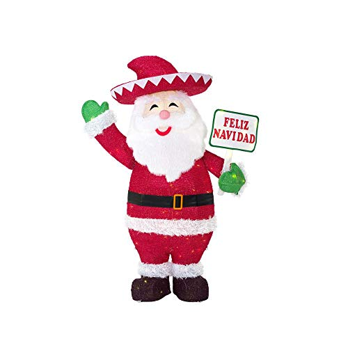 Home Accents Holiday 40 in. Christmas Warm White LED Santa with Feliz Navidad Sign