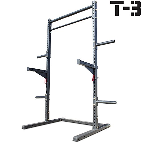 Titan T-3 Squat Rack w/ Safely Spotter Arms Weight Lift Stand Strength Pull Up by Titan Fitness