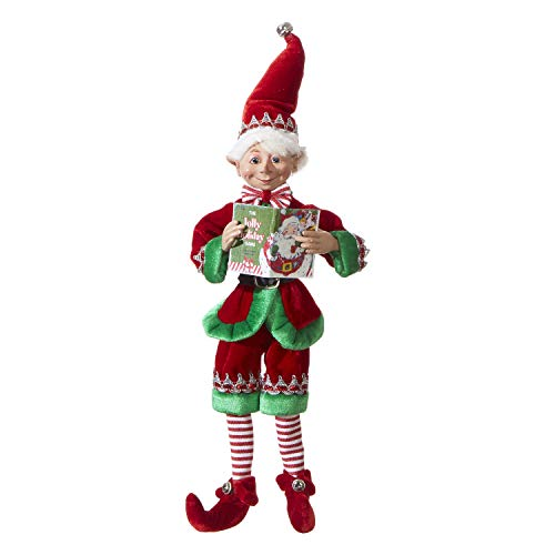 RAZ Imports Posable Christmas Elf 16quot Tall Red and Green Velvet Outfit with Santa Book 2019 Reindeer Games Holiday Collection