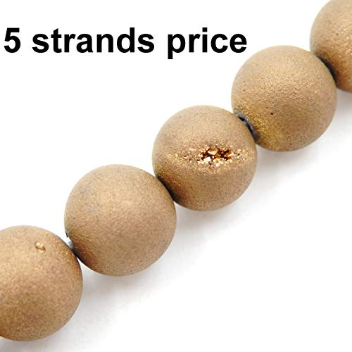 Malahill Agate Beads for Jewelry Making, Sold per Bag 5 Strands Inside, Antique-Brass Agate geode 8mm ()