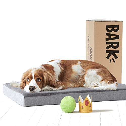 BarkBox Medium Gray 3 Inch Tall Pressure-Relief Orthopedic Memory Foam Dog Bed or Crate/Kennel Mat - Removable Washable Fleece Cover - Free Surprise (Covers Replacement Bed Dog Rectangle)