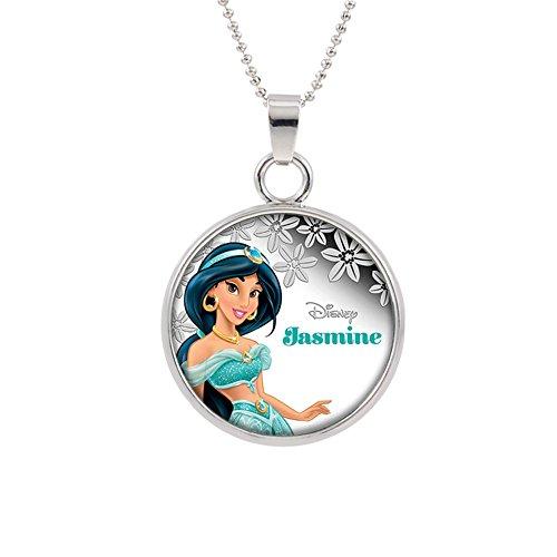 Princess Epoxy - Aladdin Jasmine Disney Pendant Necklace TV Movies Classic Cartoons Superhero Logo Theme Princess Premium Quality Detailed Cosplay Jewelry Gift Series